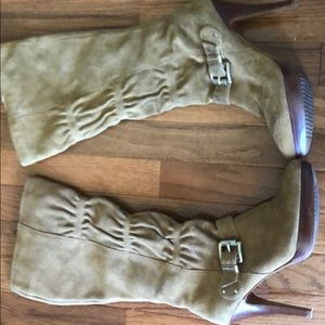 Michael Kohl's suede boots with gold buckle
